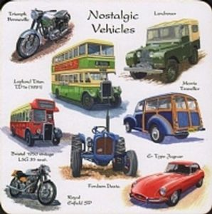 Nostalgic Vehicles set of 4 cork backed drinks coasters   (lsn)